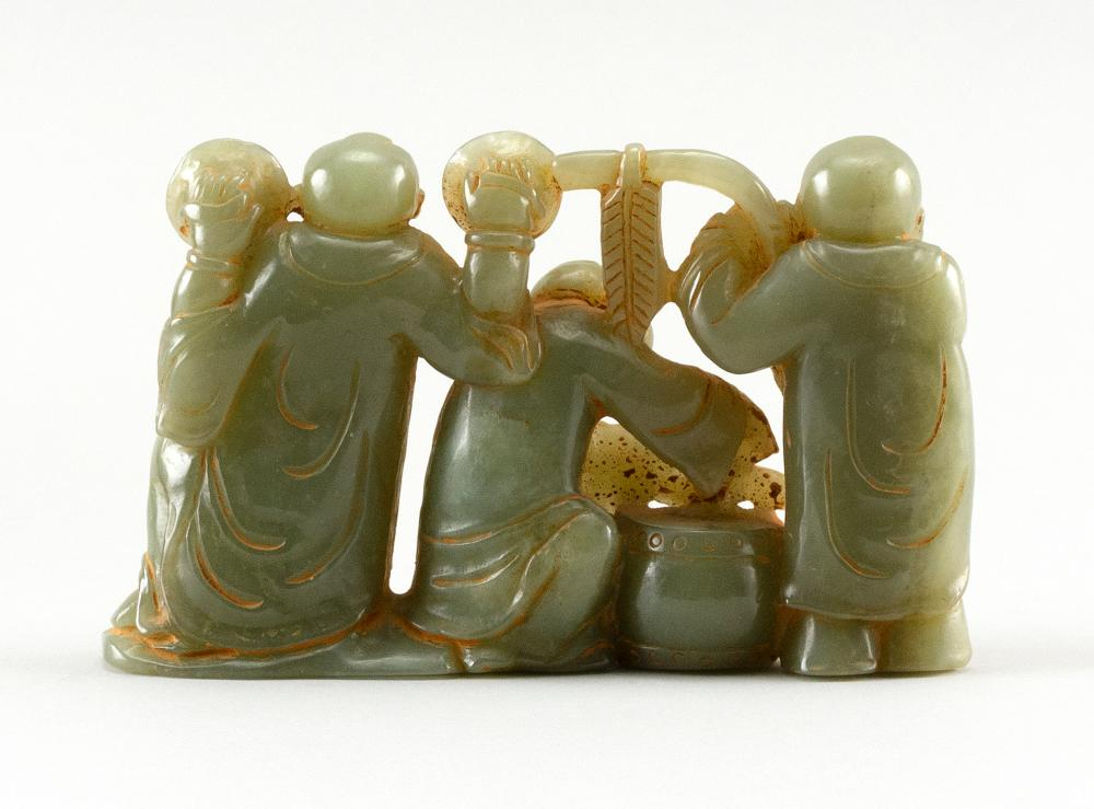 CHINESE CARVED GREEN JADE FIGURE GROUP Three wedding musicians. Height 3.5