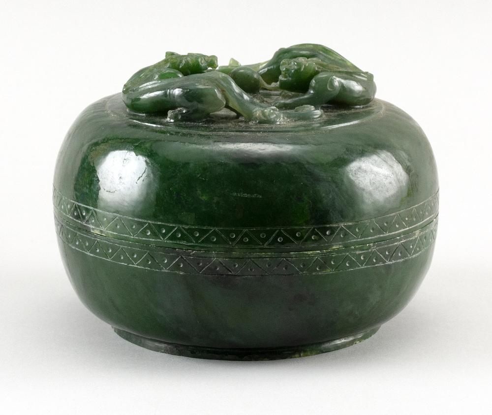 CHINESE CARVED SPINACH JADE CIRCULAR COVERED BOX Cover with raised decoration of two qilong dragons fighting over a fiery pearl. Hei...