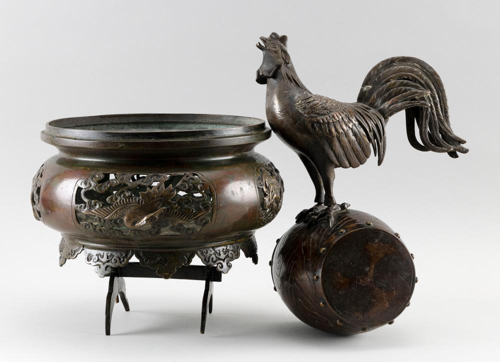 """JAPANESE BRONZE FIGURE OF A ROOSTER ON A DRUM In three parts. Base with openwork crane, dragon and phoenix cartouches. Height 20""""."""