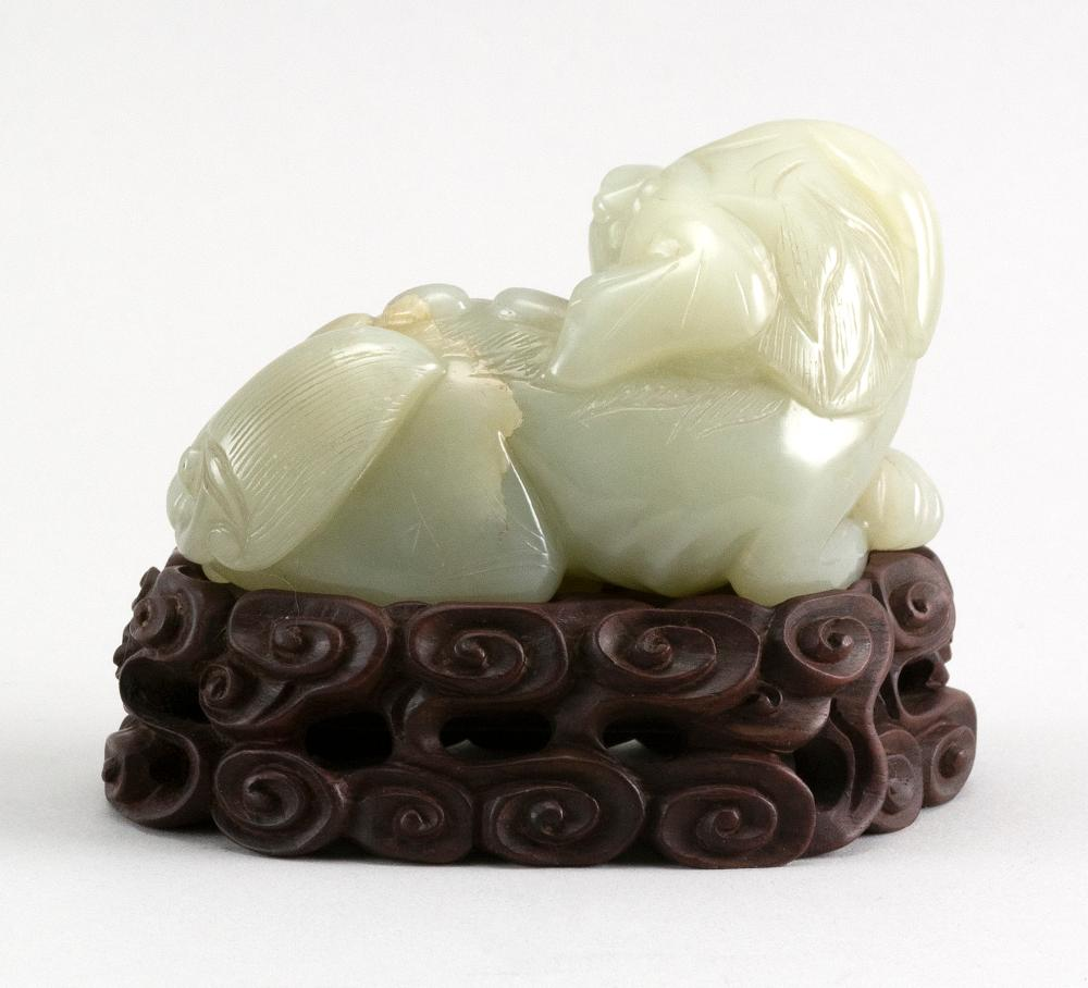 CHINESE CARVED PALE CELADON JADE RECLINING FU DOG Length 4
