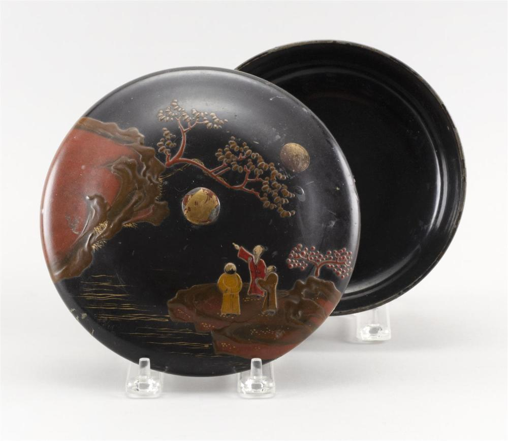 JAPANESE RED AND BLACK LACQUER COVERED BOWL Decoration of three scholars in a landscape under a full moon. Gilt highlights, worn. He...