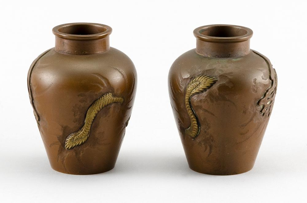 PAIR OF JAPANESE MINIATURE BRONZE URNS Balustroid, with gilded dragons piercing the surface. Unmarked. Heights 3