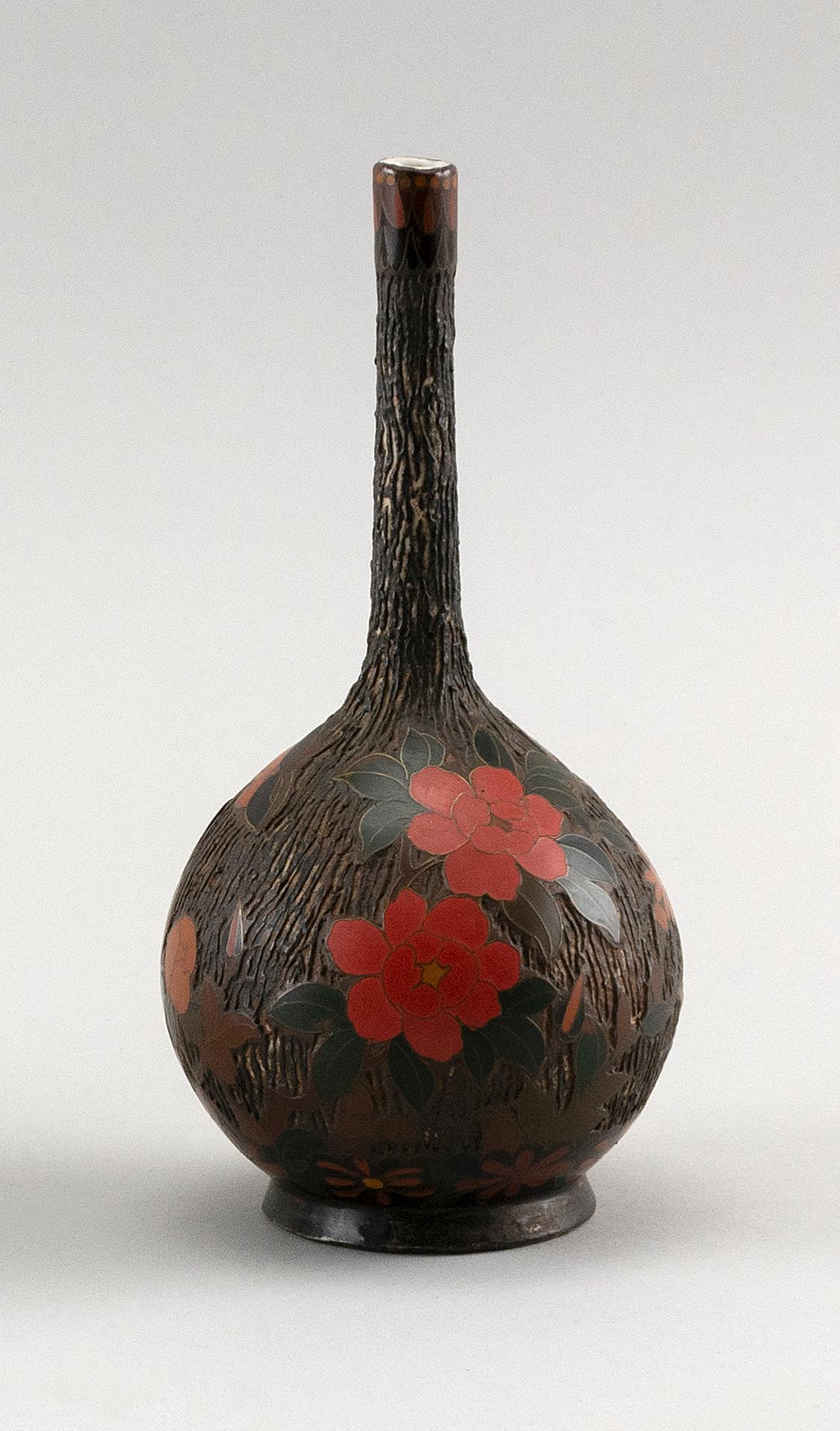 "JAPANESE TOTAI SHIPPO (TREE BARK ENAMEL) CLOISONNÉ-ON-PORCELAIN BOTTLE VASE With floral decoration. Height 7""."