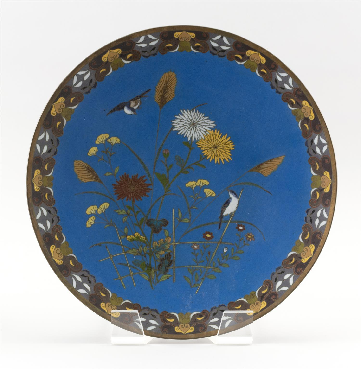 "JAPANESE CLOISONNÉ ENAMEL CHARGER Bird and flower decoration on a turquoise ground surrounded by a geometric border. Diameter 12""."