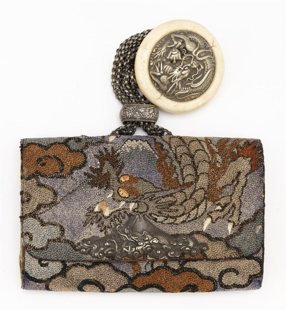 JAPANESE EMBROIDERED TOBACCO POUCH Needlework depiction of a dragon and Mount Fuji. Mixed metal clasp in the form of a dragon on Mou...