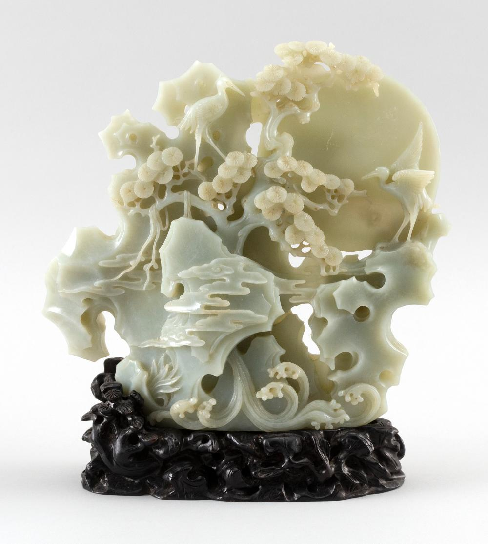 """CHINESE WHITE AND GRAY JADE DOUBLE-SIDED CARVING Depicts cranes in a pine tree and rockery against a full moon and clouds. Height 9""""..."""