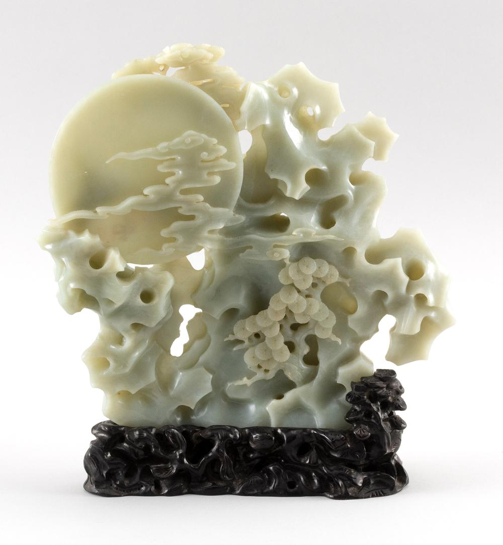 CHINESE WHITE AND GRAY JADE DOUBLE-SIDED CARVING Depicts cranes in a pine tree and rockery against a full moon and clouds. Height 9