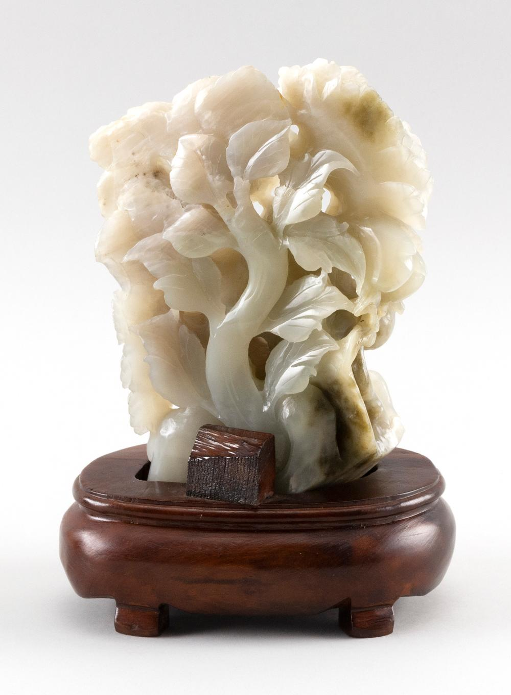 CHINESE WHITE JADE CARVING Depicts flowers, fruits and birds. Height 8