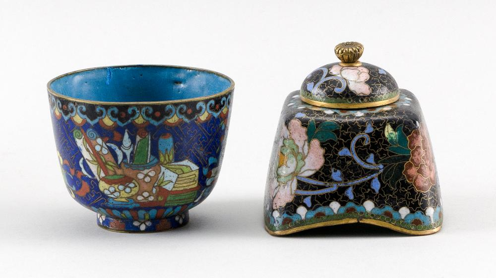 FOUR PIECES OF CHINESE AND JAPANESE CLOISONNÉ ENAMEL 1-2) Pair of Japanese seed-form vases with brass feet and dragon and ruyi decor...