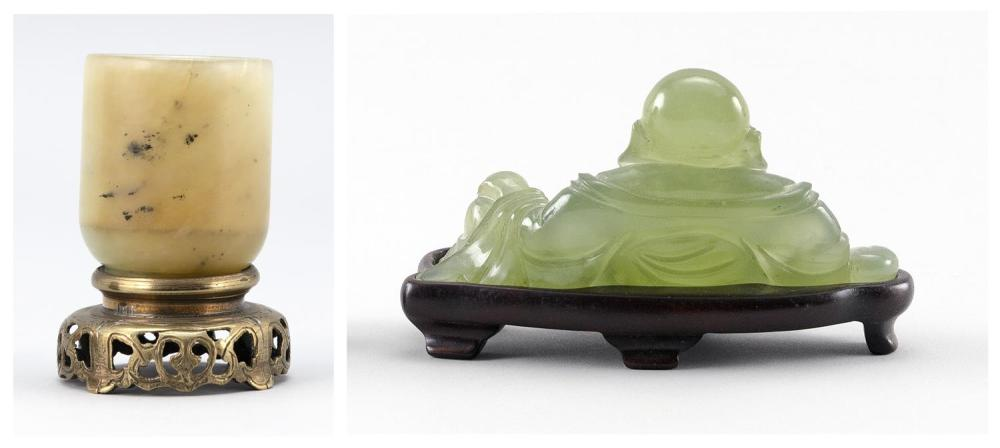 TWO CHINESE GREEN JADEITE/SERPENTINE PIECES A seated Buddha, length 5