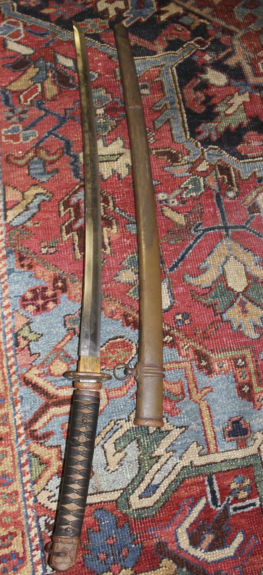 JAPANESE KATANA GUNTO OFFICER'S SWORD Tang signed. Sharkskin wrap. Includes tsuba and metal scabbard. Missing foot. Blade length 28...