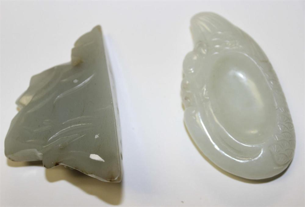 TWO CHINESE CARVED PALE CELADON JADE PIECES A mountain range with some russet skin tones, height 2