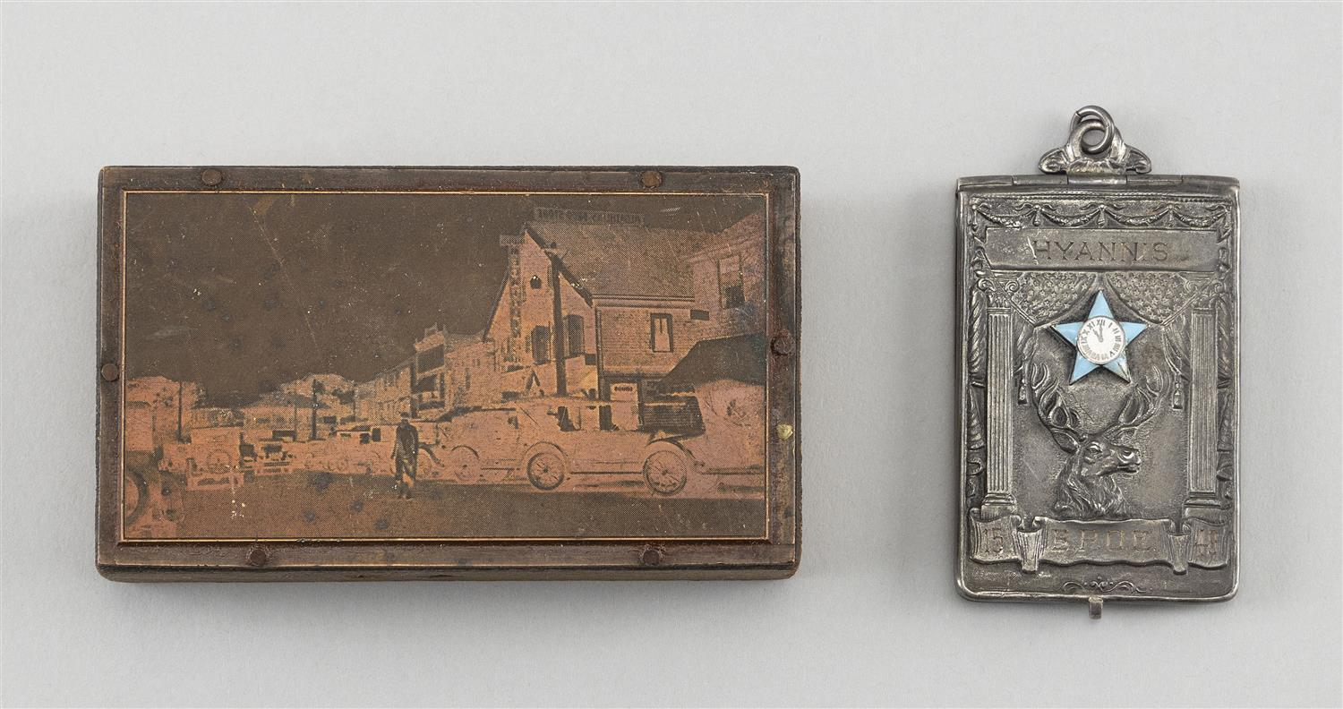 """TWO OBJECTS OF HYANNIS, MASSACHUSETTS INTEREST 1) Early 20th Century copper plate depicting Main Street. 2"""" x 3.25"""". 2) Silver plate..."""