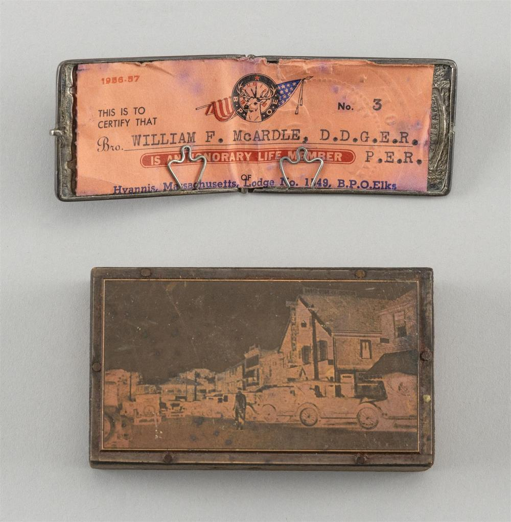 TWO OBJECTS OF HYANNIS, MASSACHUSETTS INTEREST 1) Early 20th Century copper plate depicting Main Street. 2