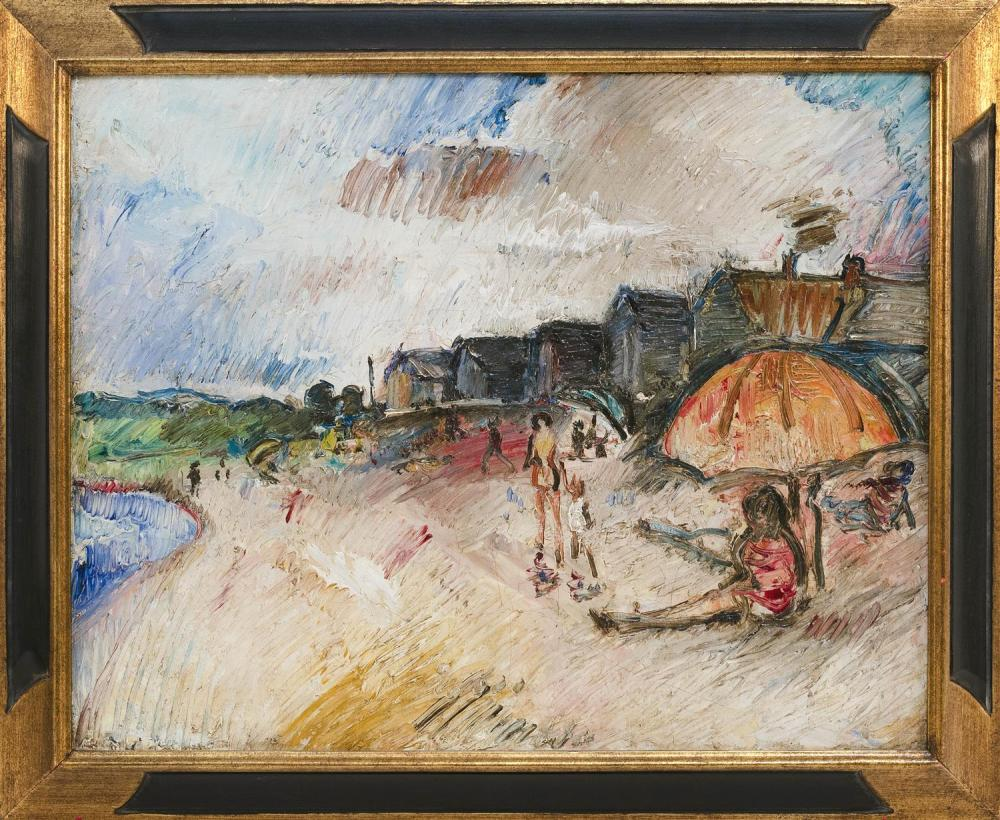 AMERICAN SCHOOL, 20th Century, Beach scene with houses, figures and an umbrella., Oil on board, 16