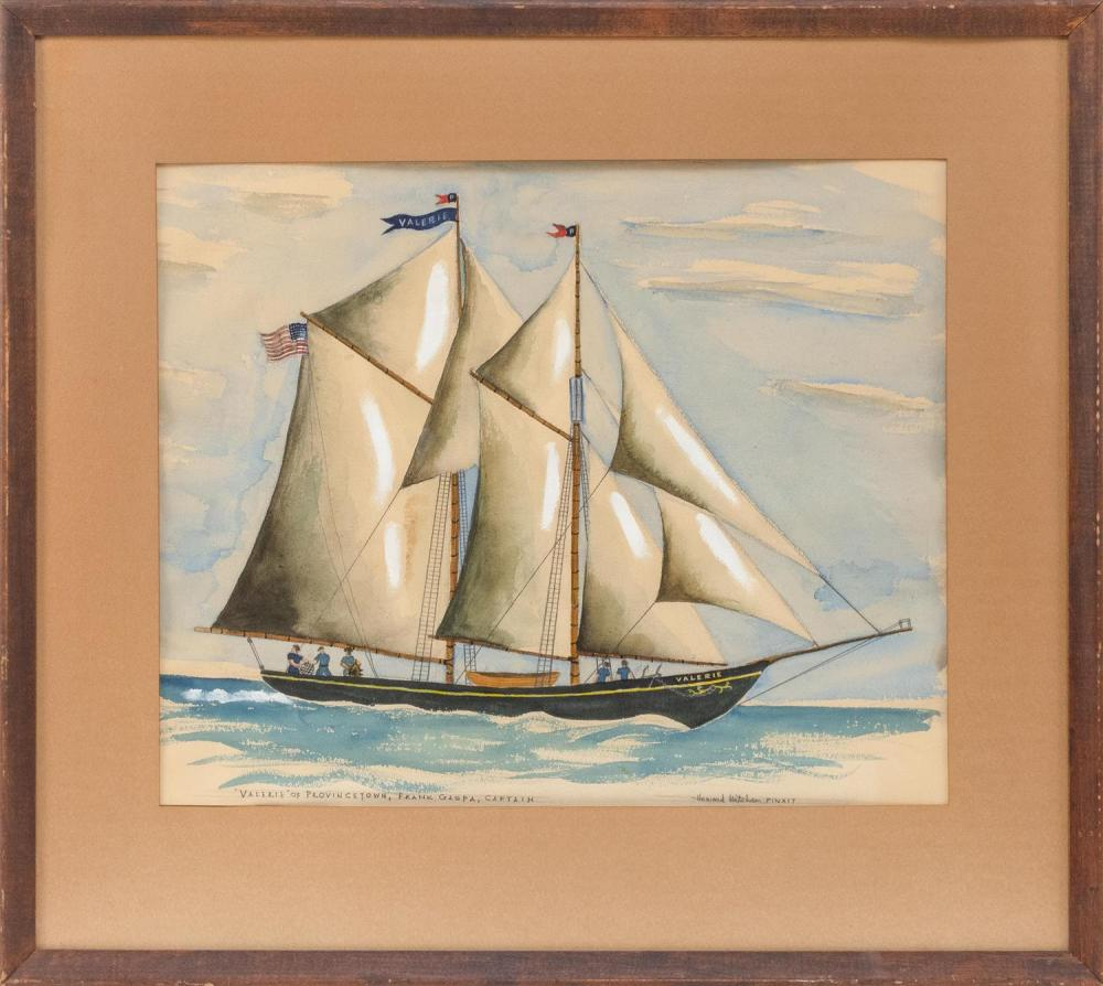 "HOWARD MITCHAM, Massachusetts/Mississippi, 1917-1996, ""'Valerie' of Provincetown, Frank Gaspa, Captain""., Watercolor and gouache on.."