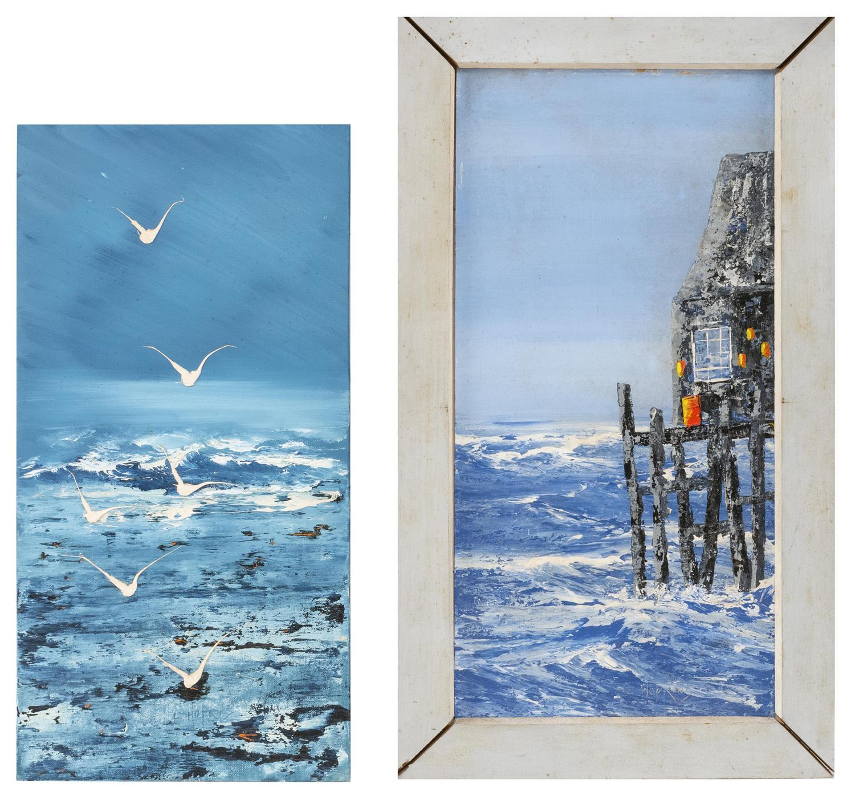 "LYMAN (HOPI) FRITZ HOPKINS, Provincetown, Massachusetts, 1928-2002, Two works:, Oils on board, 20"" x 10"". One framed 24"" x 13.5""."