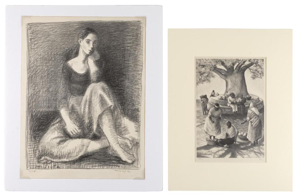 """TWO LITHOGRAPHS 1) """"Palin"""" by Edith Bry (New York/Missouri, 1898-1991). Titled lower left. Signed lower right """"Bry"""". 13"""" x 9.25"""" sig..."""