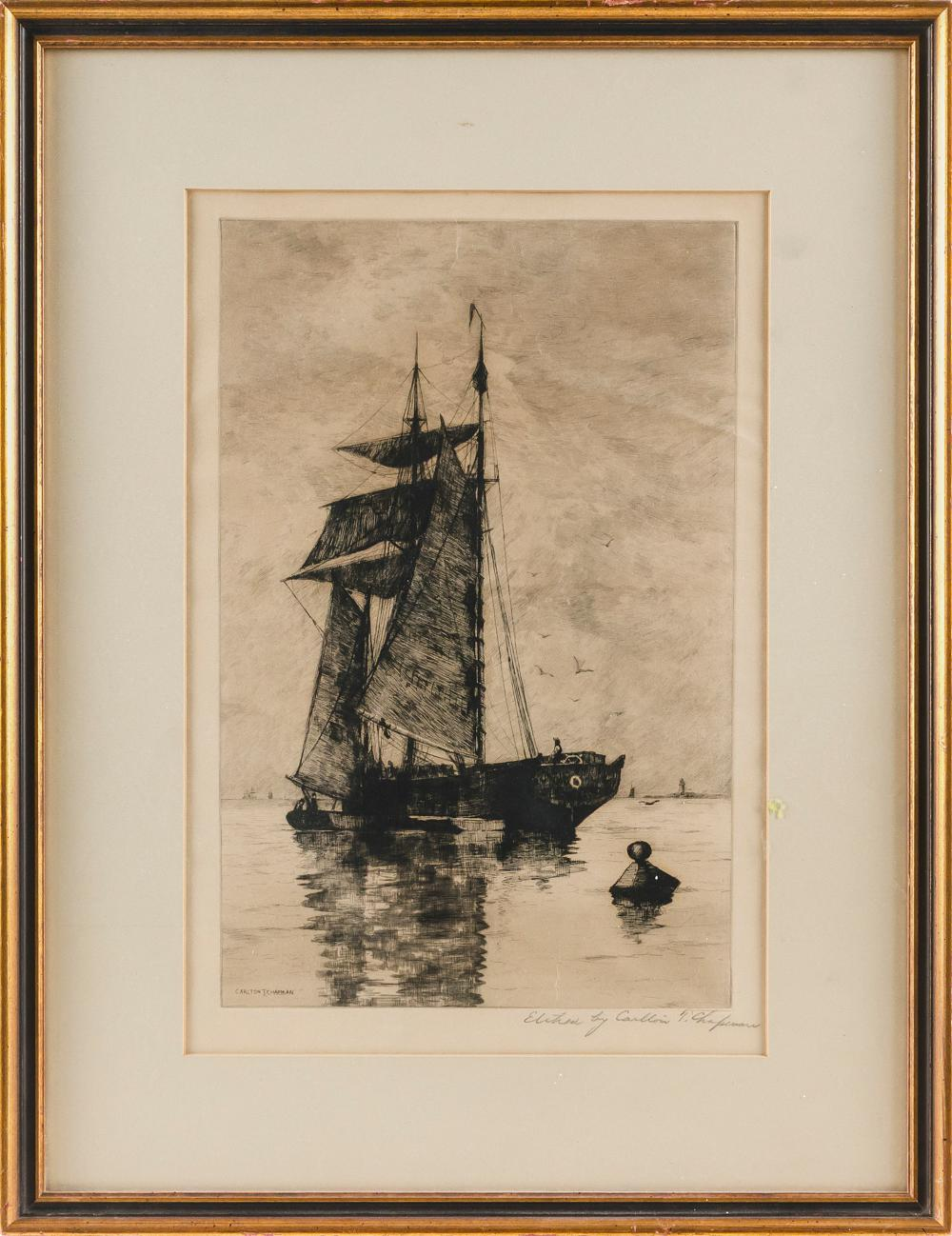 """CARLTON THEODORE CHAPMAN, New York/California/Ohio, 1860-1925, A moored vessel., Etching on paper, 14.75"""" x 9.75"""" sight. Framed 21""""..."""
