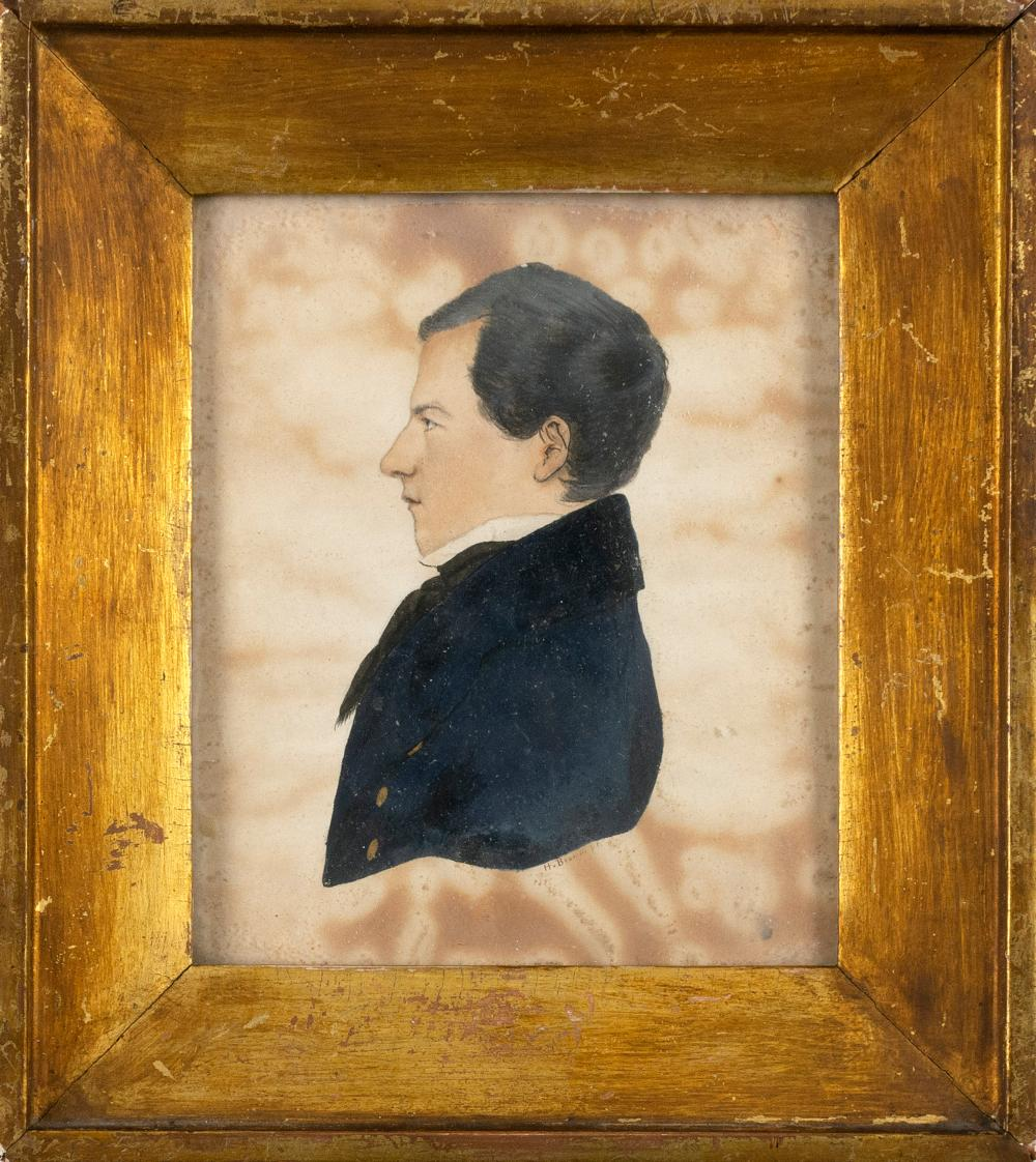 """AMERICAN SCHOOL, 19th Century, Profile portrait of a young man., Watercolor on paper, 6"""" x 4.75"""" sight. Framed 9"""" x 8""""."""