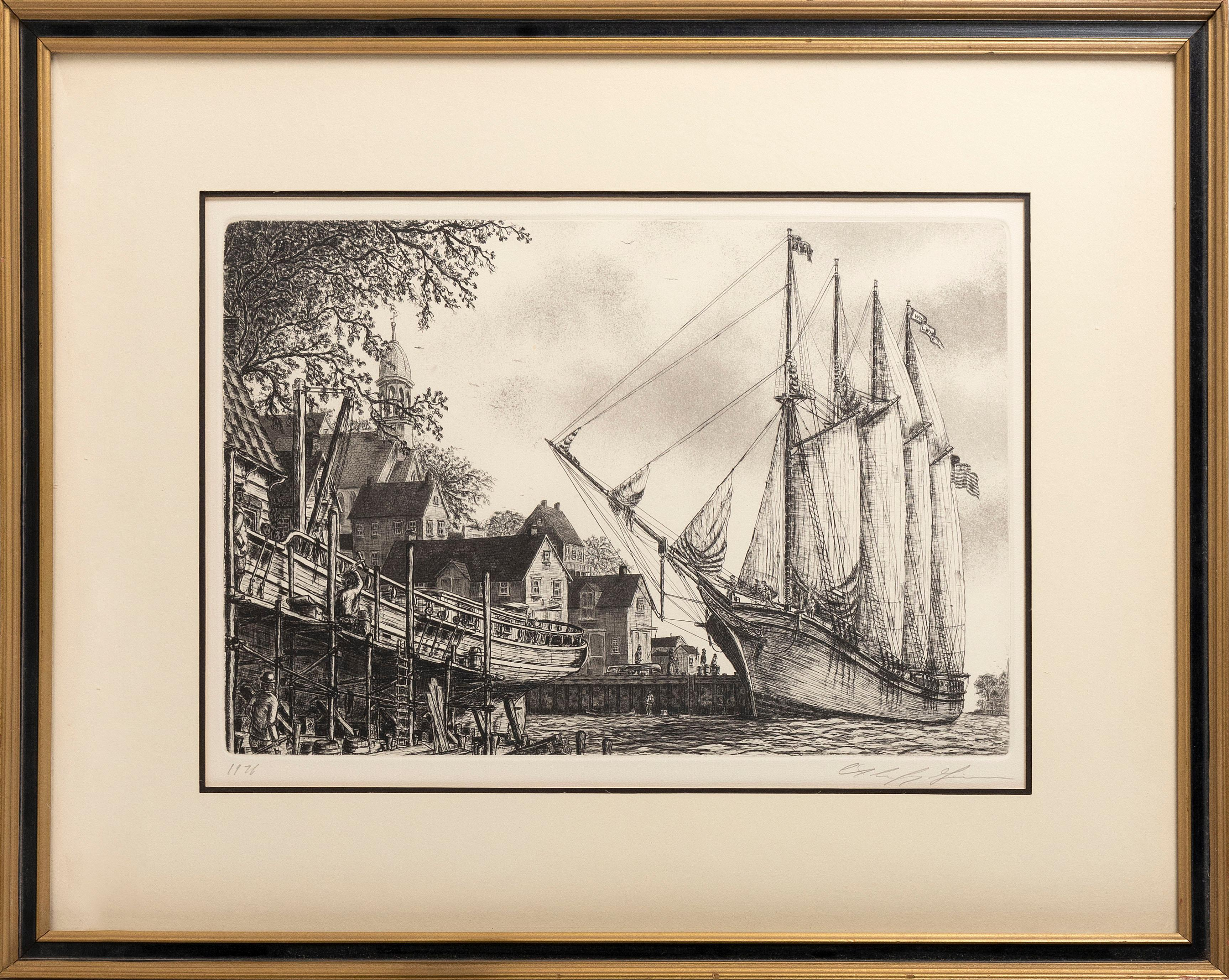 """AMERICAN SCHOOL, 20th Century, New England harbor scene, possibly Nantucket., Etching, 13"""" x 18"""" sight. Framed 21.5"""" x 27.5""""."""
