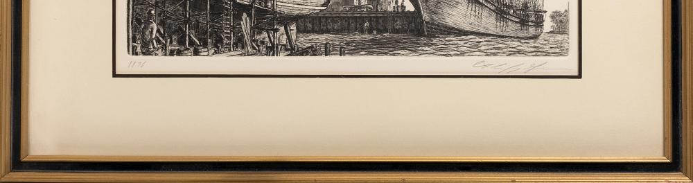 AMERICAN SCHOOL, 20th Century, New England harbor scene, possibly Nantucket., Etching, 13