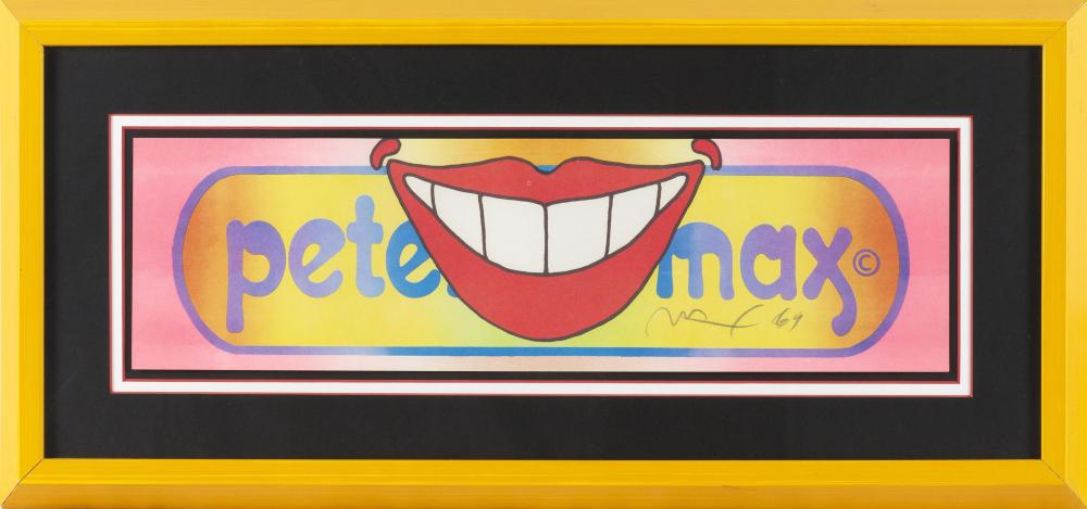 """PETER MAX, Germany/United States, b. 1937, Smile pop art., Color lithograph, 6"""" x 21"""". Framed 13.5"""" x 28.5""""."""