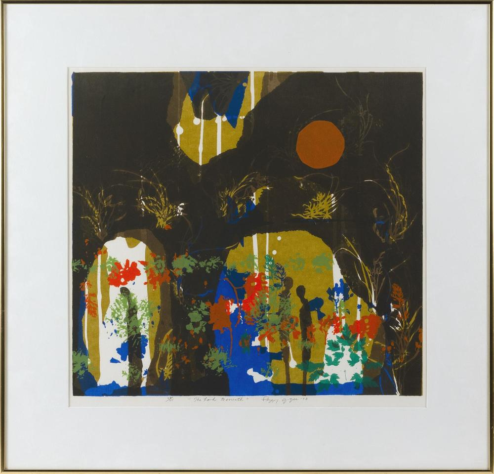 """PEGGY G. ZEE, United States, 20th Century, """"The Land Below""""., Serigraph on paper, 18.5"""" x 20"""" sight. Framed 27.5"""" x 28""""."""