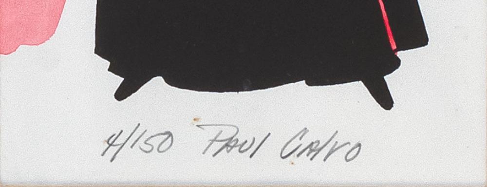 PAUL CALVO, United States, 1936-2012, Fashion print of a lady., Colored print, 22