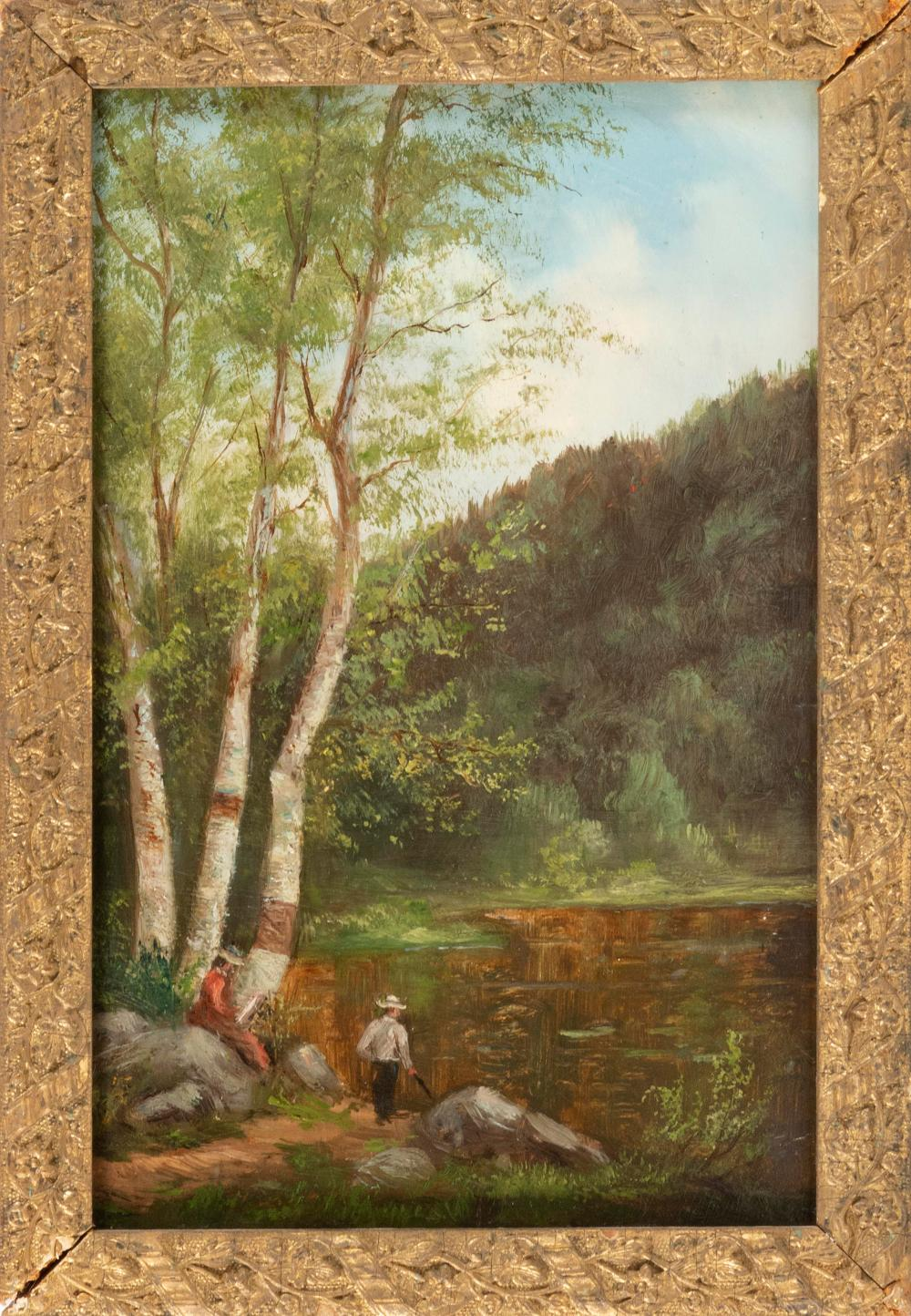 """AMERICAN SCHOOL, Late 19th Century, Two figures by a mountain lake., Oil on artist board, 12.25"""" x 8"""". Framed 14"""" x 9.5""""."""