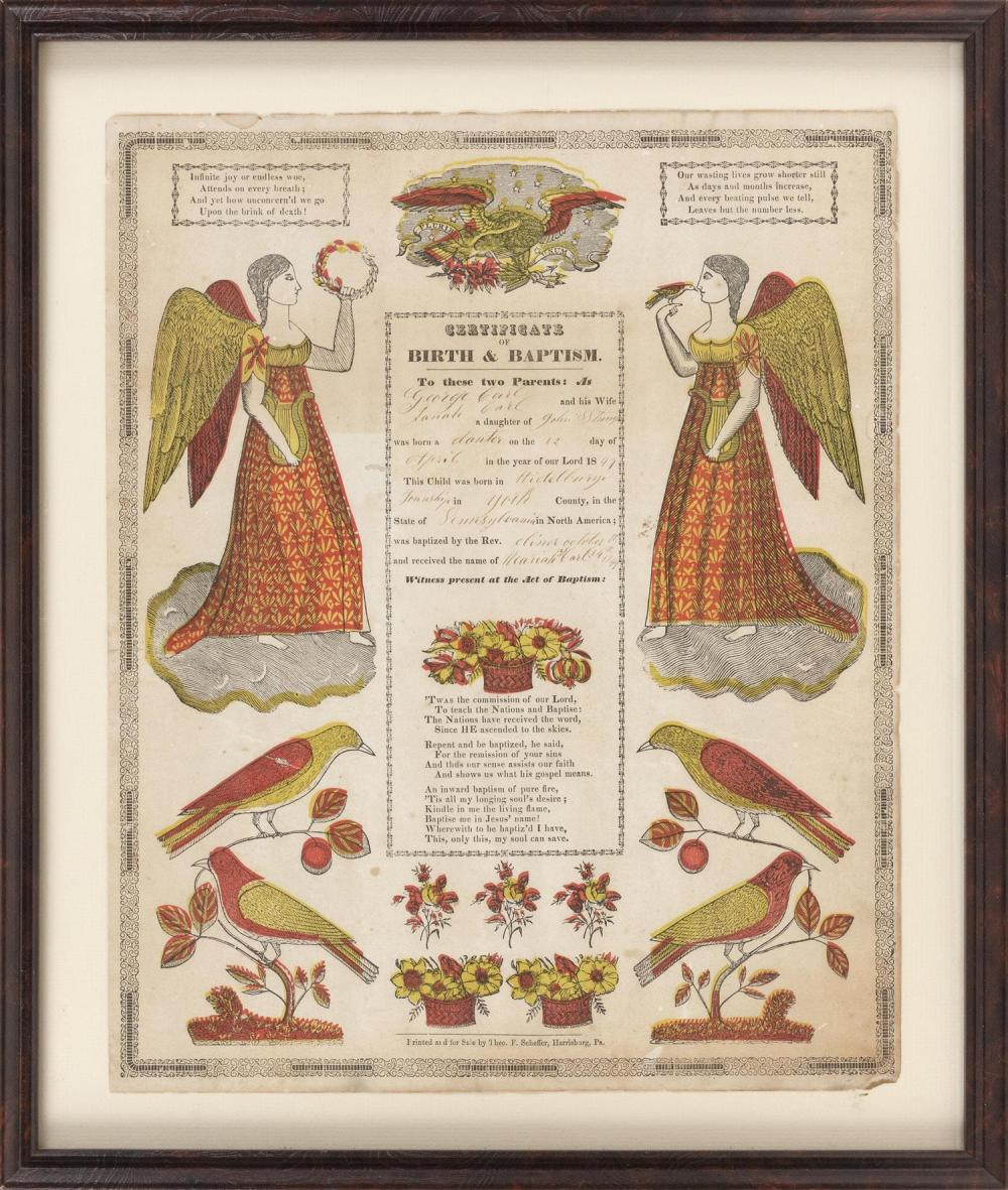 PENNSYLVANIA DUTCH FRAKTUR Birth and baptism record certifying that Hannah Gail was born to George and Sarah Gail. Lithograph with h...