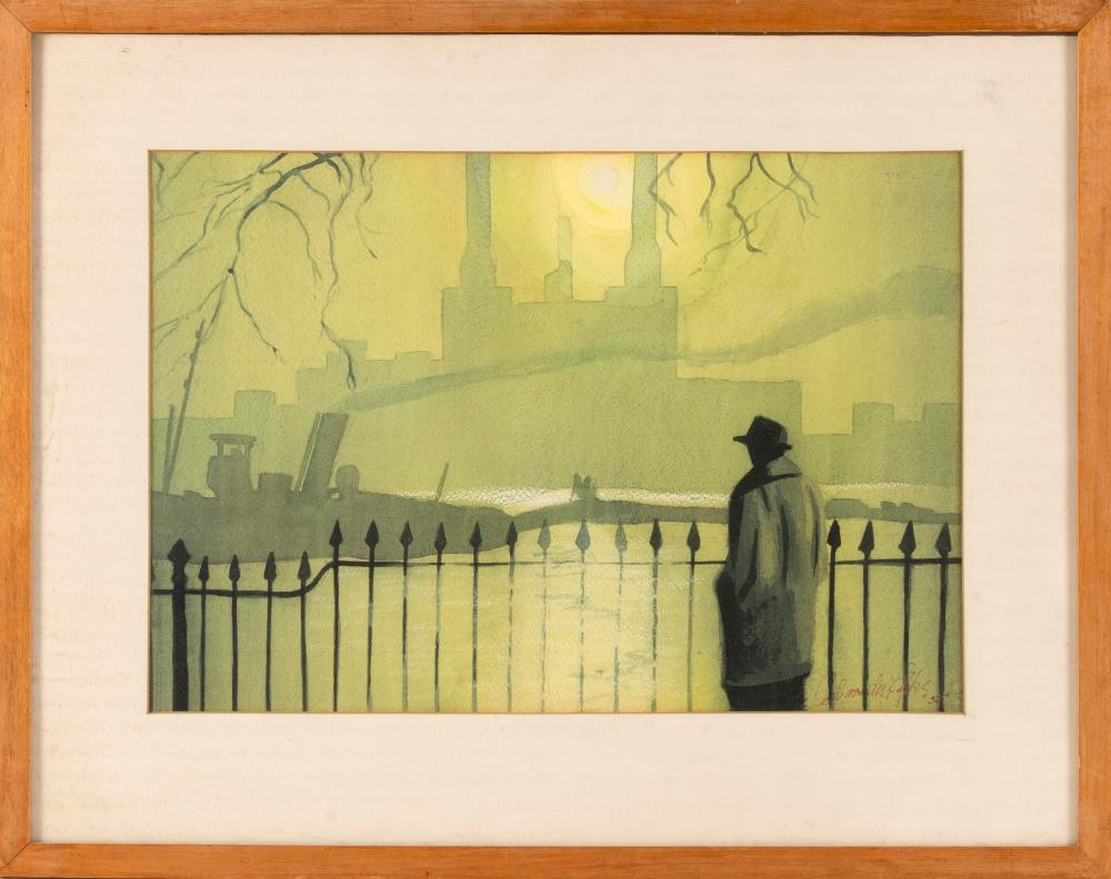 """CARL VON DER LIPPE, Massachusetts, Mid-20th Century, A man looking toward a distant factory., Watercolor on paper, 12"""" x 17"""" sight...."""