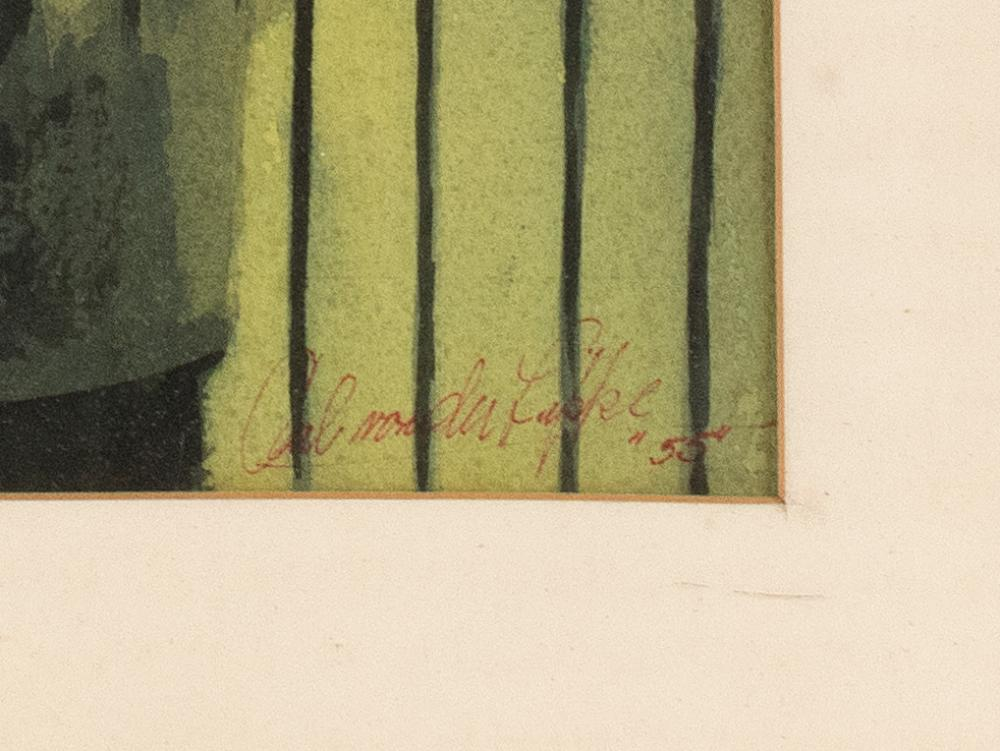CARL VON DER LIPPE, Massachusetts, Mid-20th Century, A man looking toward a distant factory., Watercolor on paper, 12
