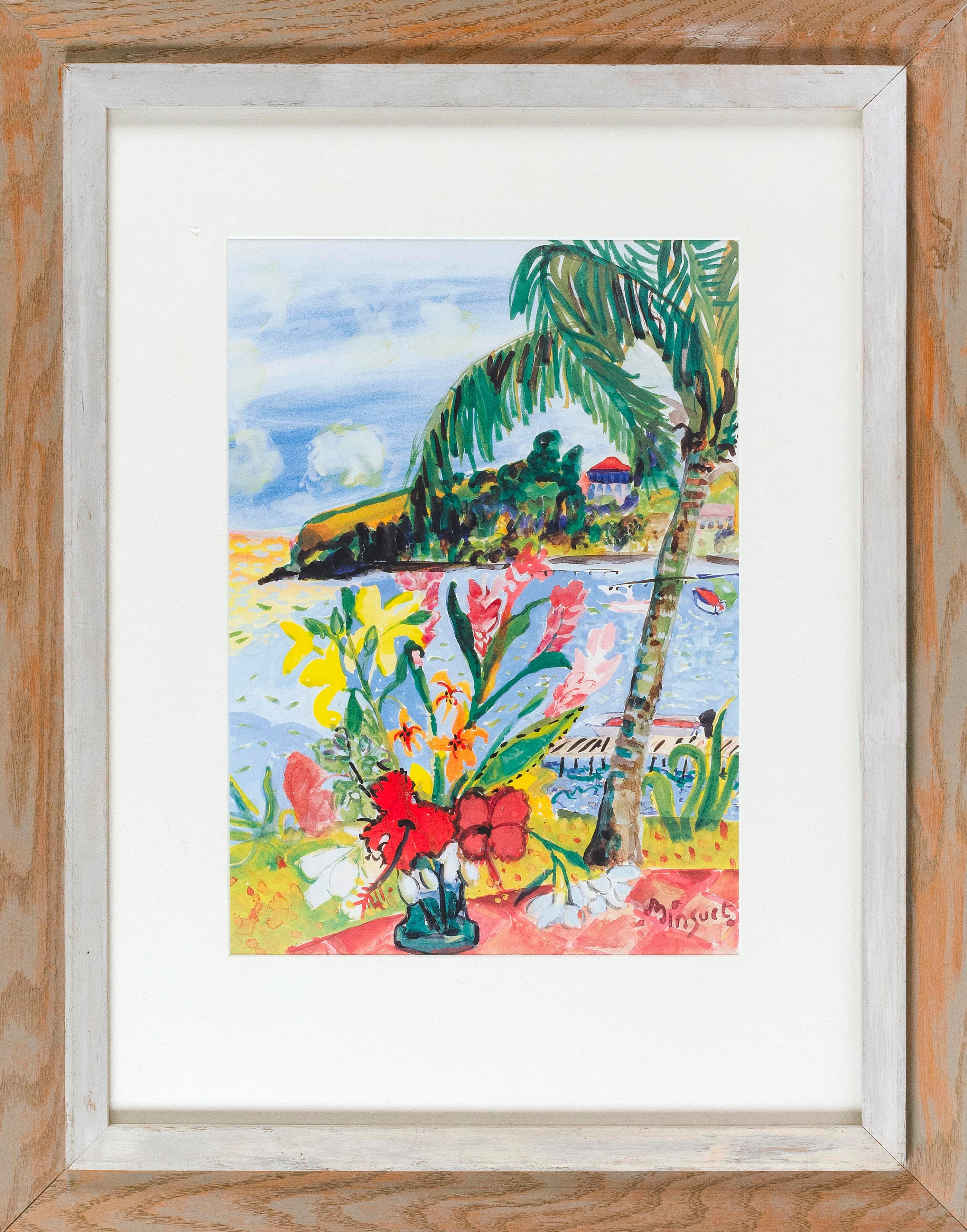 """TROPICAL LANDSCAPE MIXED MEDIA Signed lower right """"Minjuel"""". 17"""" x 12"""" sight. Framed 28.5"""" x 22.5""""."""