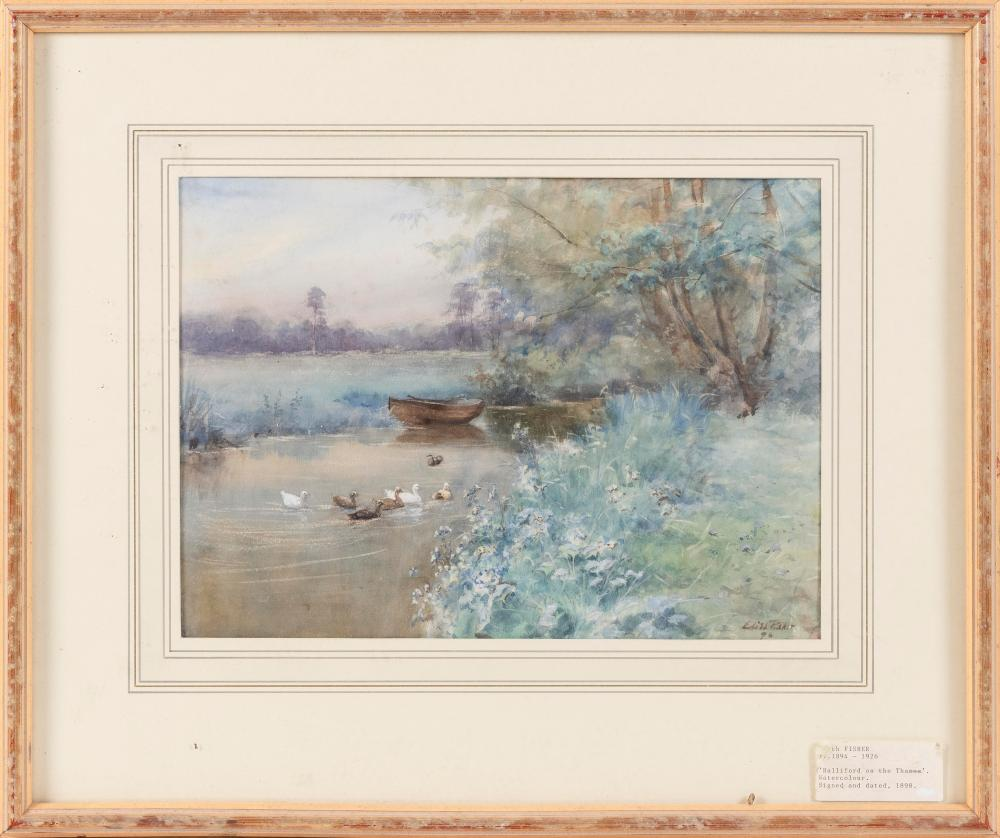 """EDITH FISHER, United Kingdom, Late 19th/Early 20th Century, Ducks in a pond., Watercolor, 10.5"""" x 15"""". Framed 19"""" x 23.5""""."""