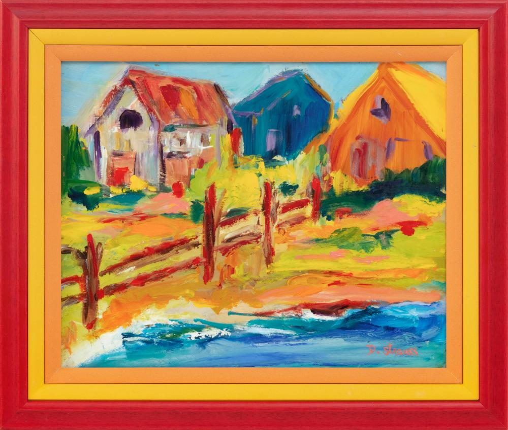 "DOROTHY STRAUSS, Massachusetts, Contemporary, Coastal scene with houses., Oil on board, 9.5"" x 10.5"". Framed 11"" x 13""."