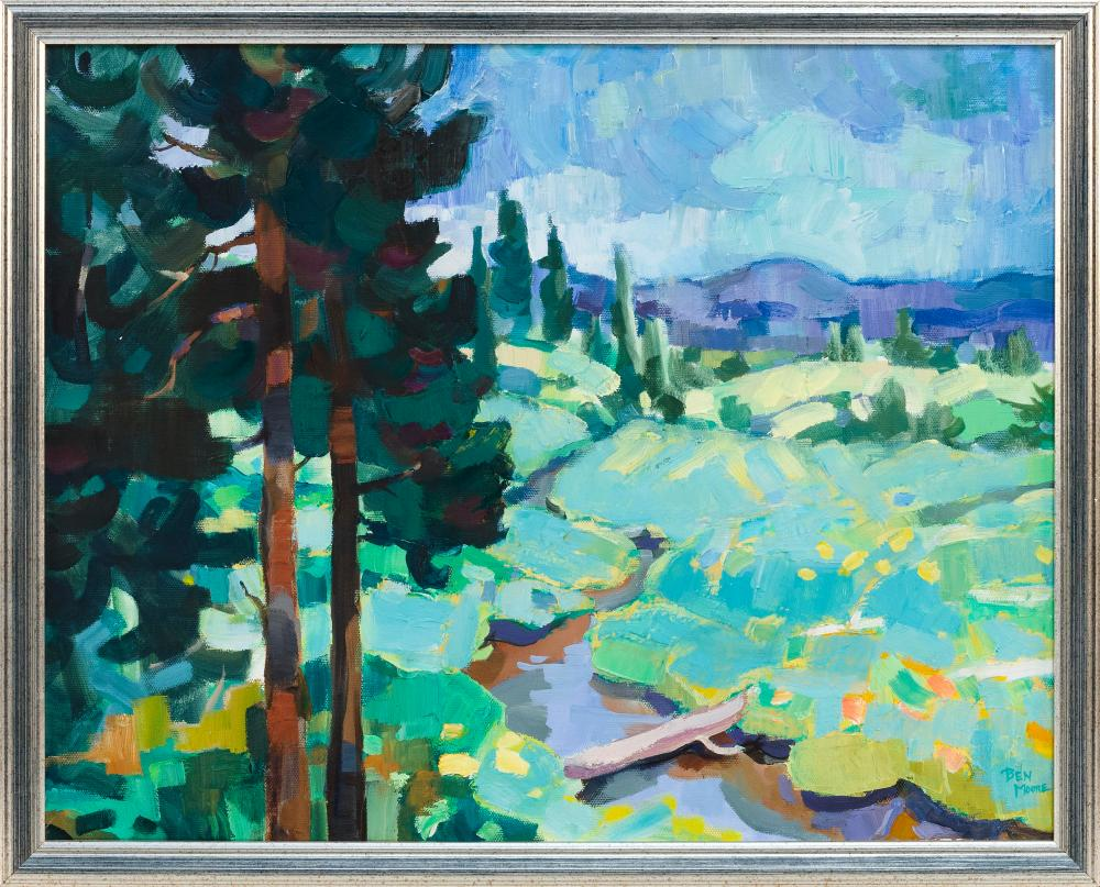 "BEN MOORE, United States, Contemporary, Colorful landscape., Oil on canvas, 16"" x 20"". Framed 17"" x 21""."