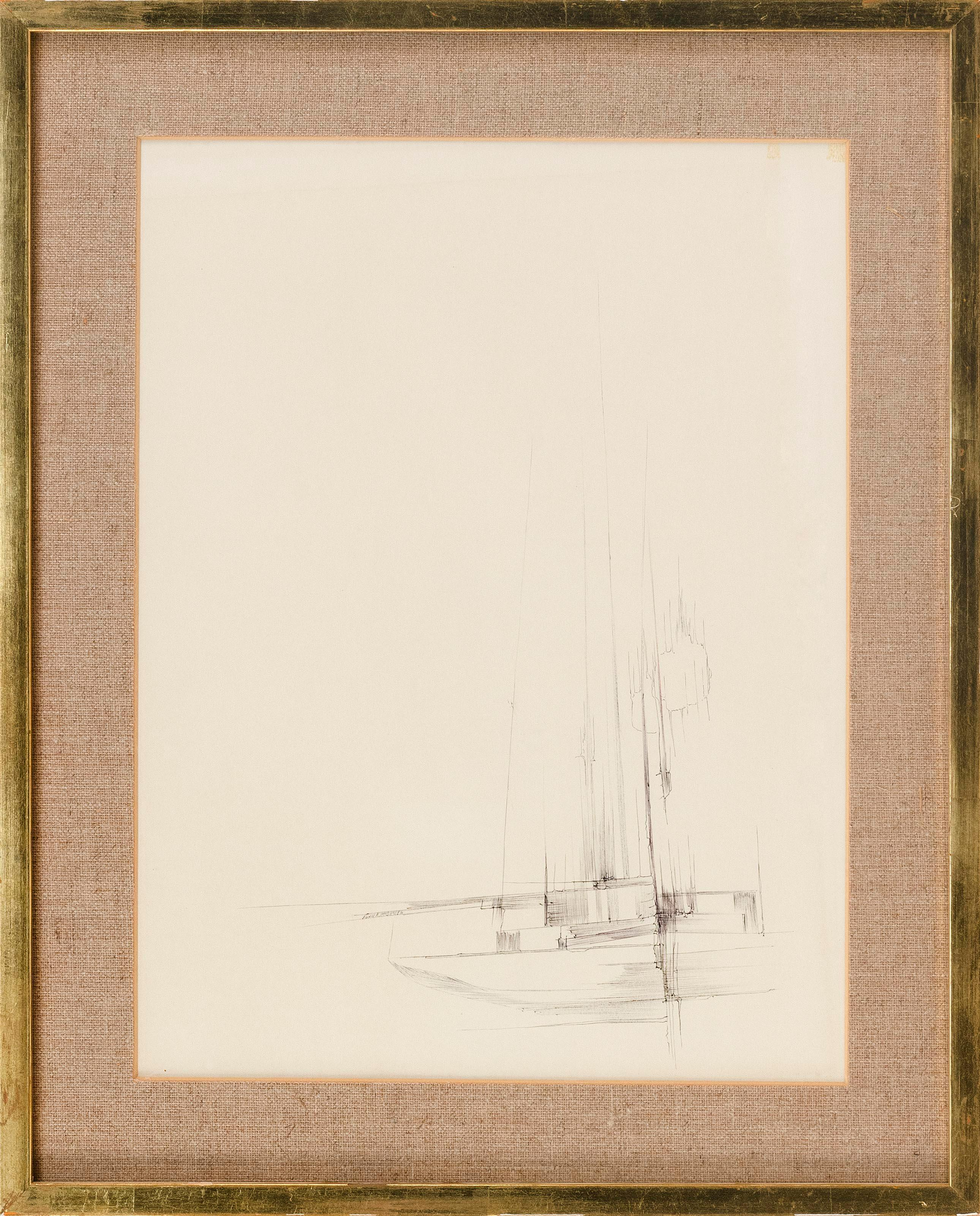 "JOHN R. MCDANIEL, United States, 20th Century, Sailboat., Brush and acrylic on paper, 16"" x 12"" sight. Framed 21"" x 17""."