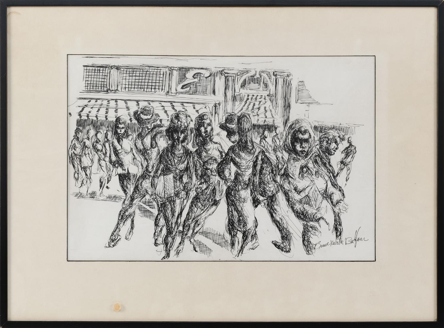 """BRUCE XAVIER BALFOUR, California, 20th Century, Figural street scene., Pen and ink on paper, 13"""" x 21"""" sight. Framed 22"""" x 30""""."""