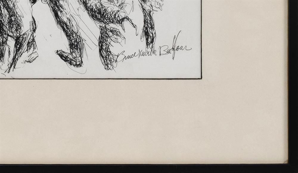 BRUCE XAVIER BALFOUR, California, 20th Century, Figural street scene., Pen and ink on paper, 13