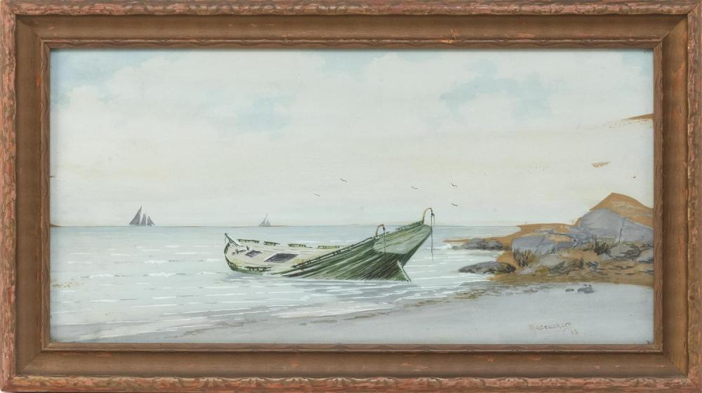 "NEIL MACEACHERN, Maine, Early 20th Century, Beached boat., Watercolor on paper, 10"" x 20"". Framed 13"" x 23""."
