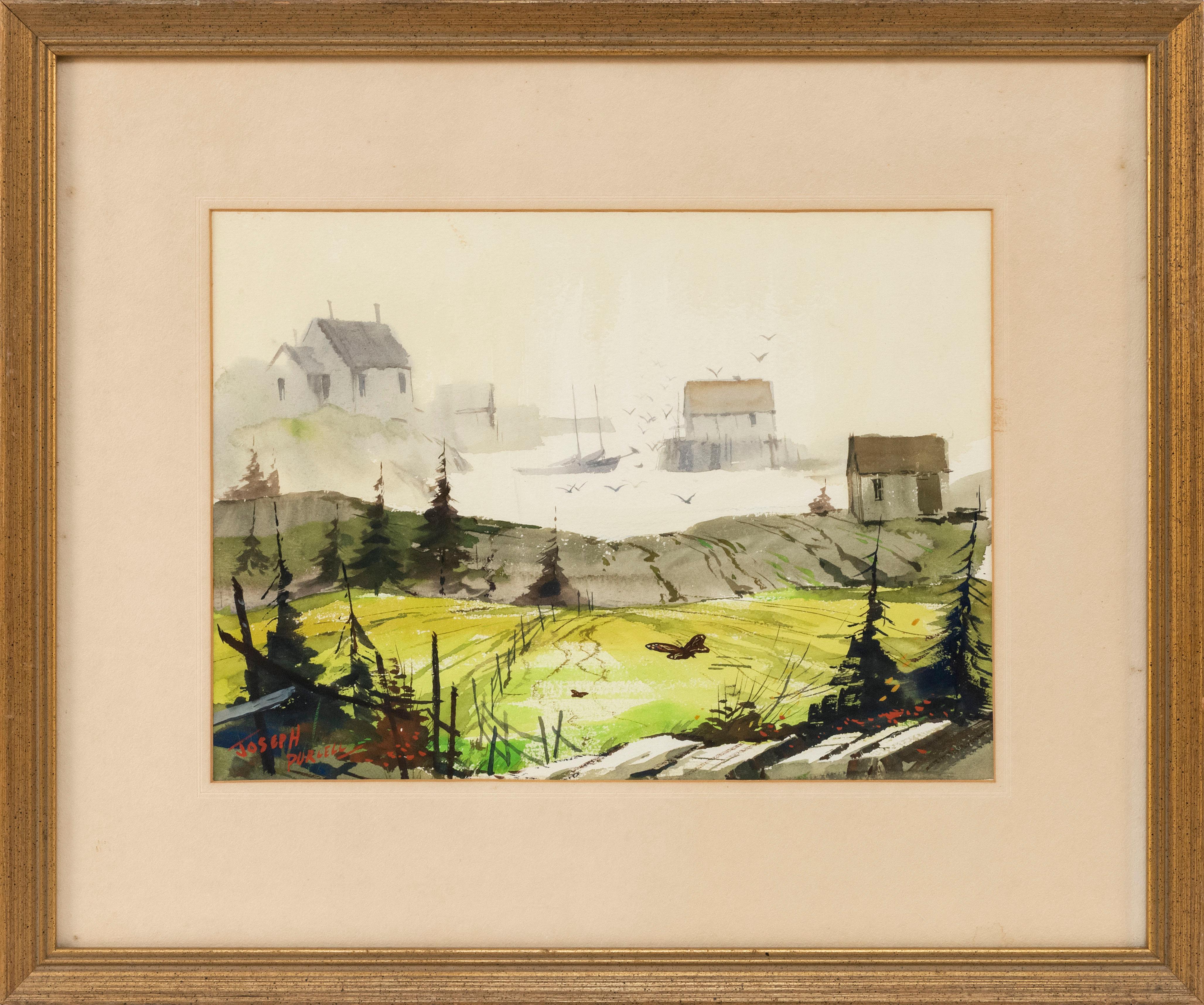 "JOSEPH DOUGLAS PURCELL, Canada, 1927-2015, ""Mahone Bay, Nova Scotia""., Watercolor on paper, 10.5"" x 14"" sight. Framed 18.5"" x 22""."