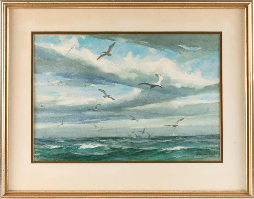 """GORDON HOPE GRANT, New York/California/United Kingdom, 1875-1962, Seascape with seagulls., Watercolor on paper, 14.25"""" x 21"""". Framed..."""