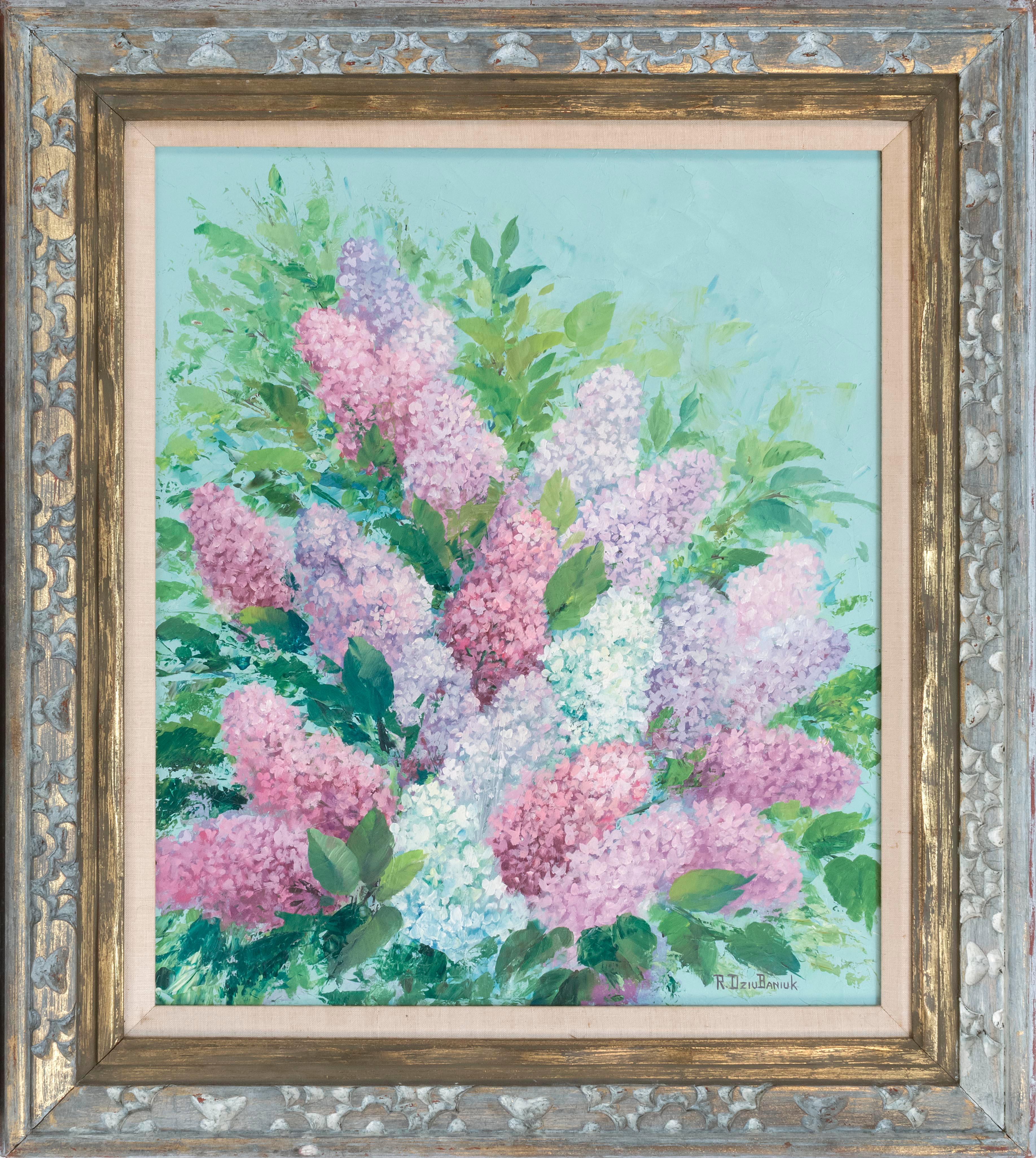 "ROBERT E. DZIUBANIUK, United States, Contemporary, Still life of lilacs., Oil on board, 24"" x 20"". Framed 32"" x 28""."