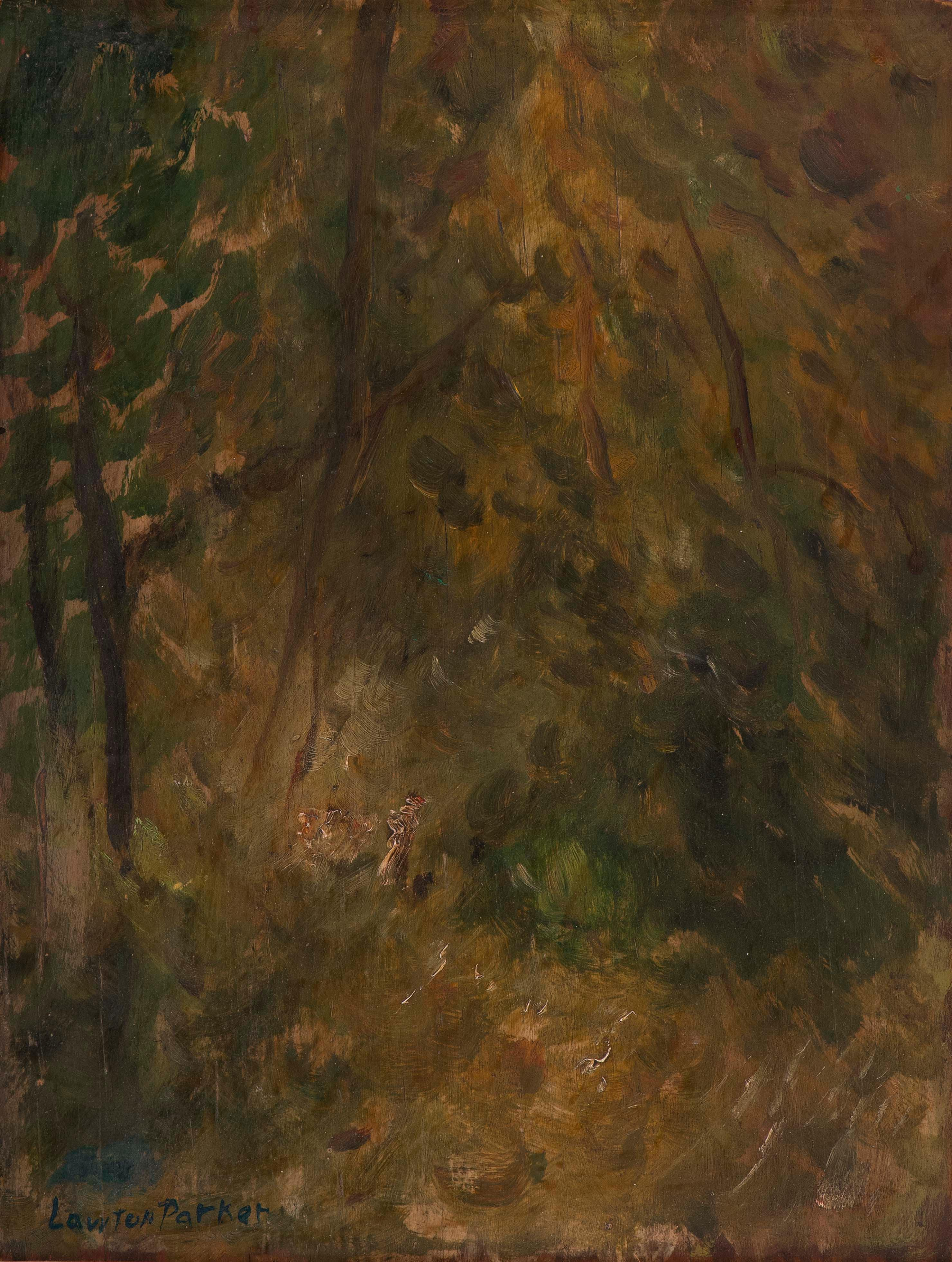 """LAWTON SILAS PARKER, United States, 1868-1954, Forest interior., Oil on board, 15"""" x 12"""". Framed 17"""" x 19""""."""