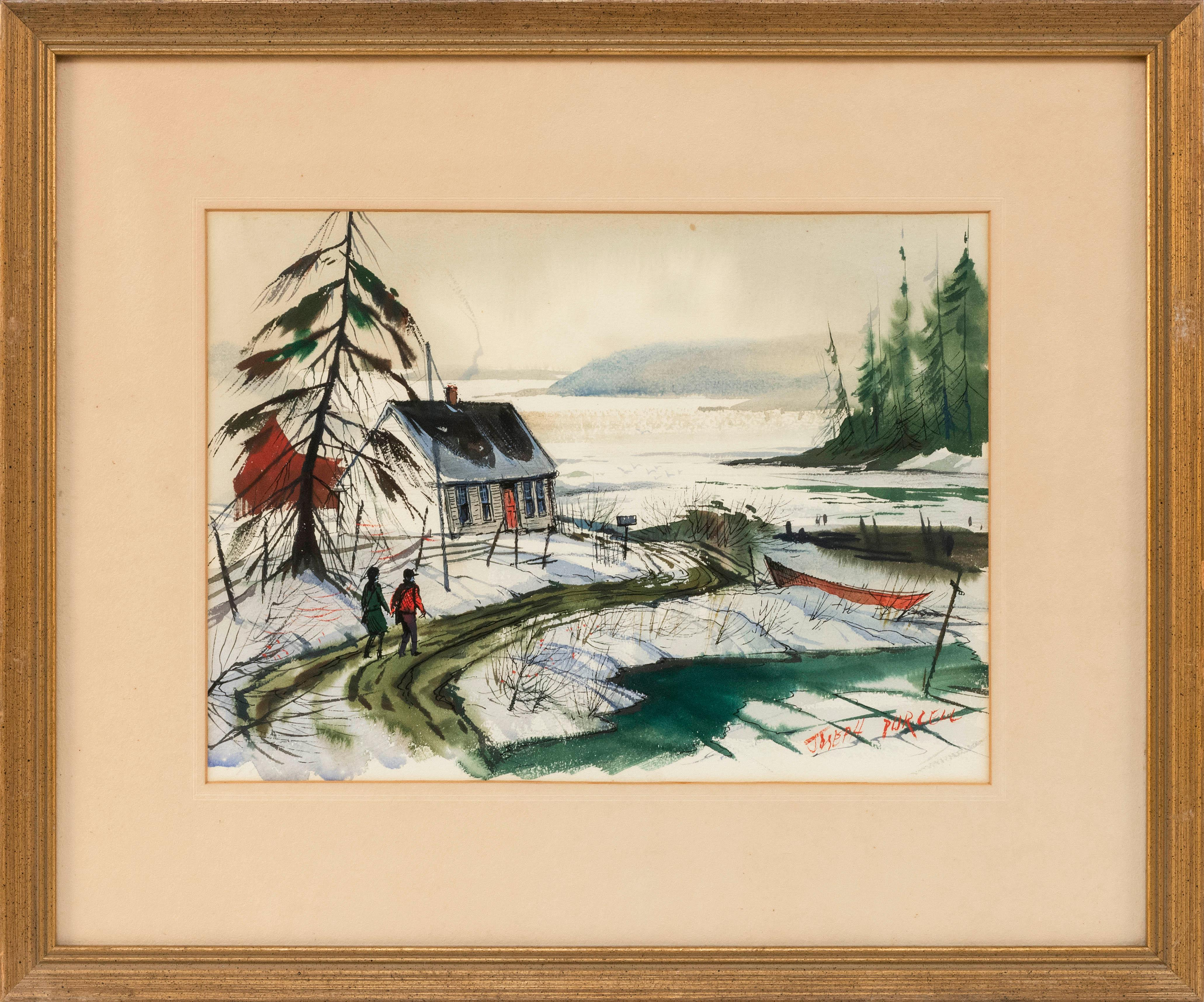 "JOSEPH DOUGLAS PURCELL, Canada, 1927-2015, ""Mahone Bay, Nova Scotia"",, Watercolor on paper, 10.5"" x 14"" sight. Framed 18.5"" x 22""."