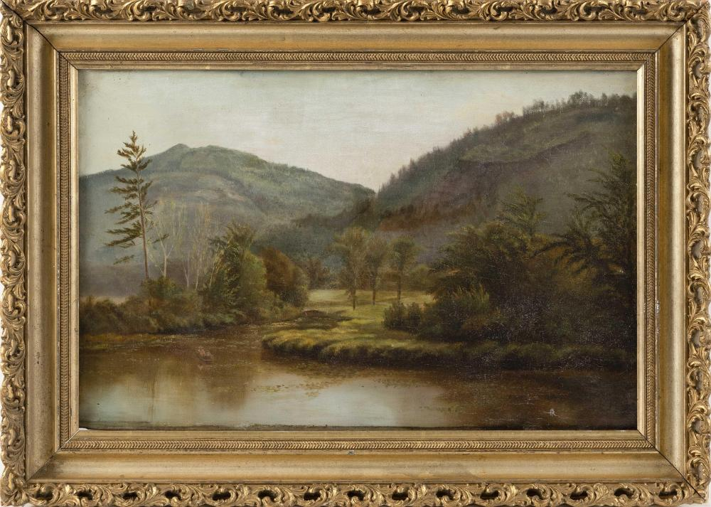 "AMERICAN SCHOOL, 19th Century, Mountain landscape with pond., Oil on canvas, 12.5"" x 20.5"". Framed 17.5"" x 24.5""."