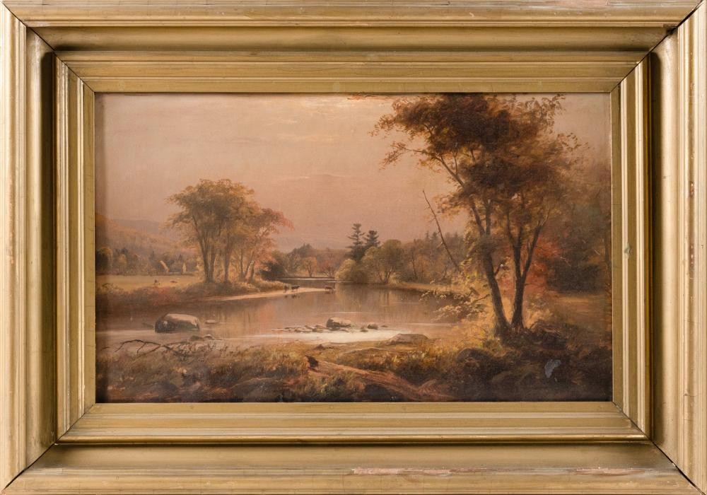 """AMERICAN SCHOOL, 19th Century, Haying in the mountains., Oil on canvas, 12"""" x 20"""". Framed 19"""" x 27""""."""