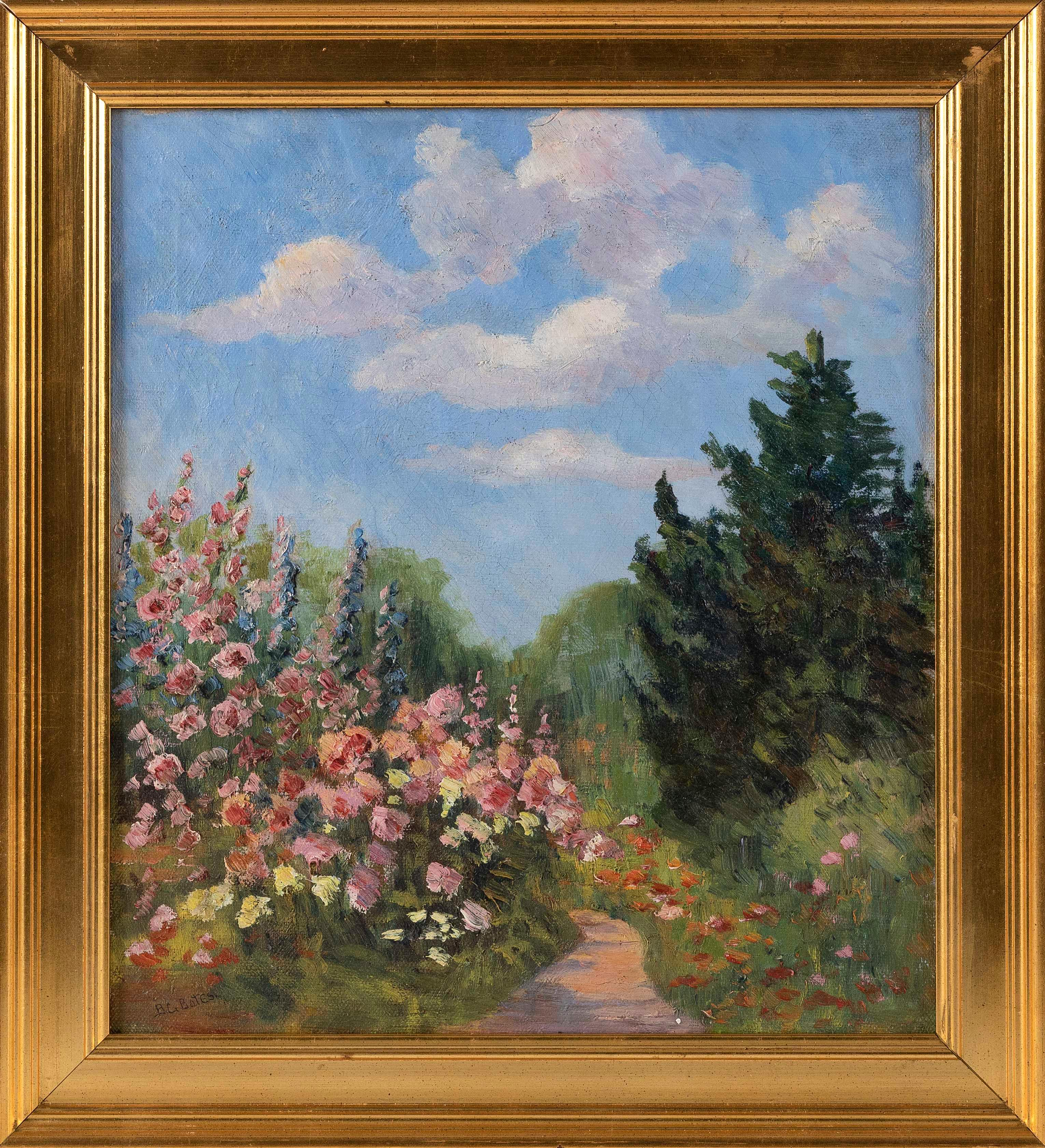 "BERTHA CORSON DAY BATES, Delaware/Pennsylvania, 1875-1968, Flower-lined path., Oil on canvas, 18"" x 16"". Framed 22"" x 20""."