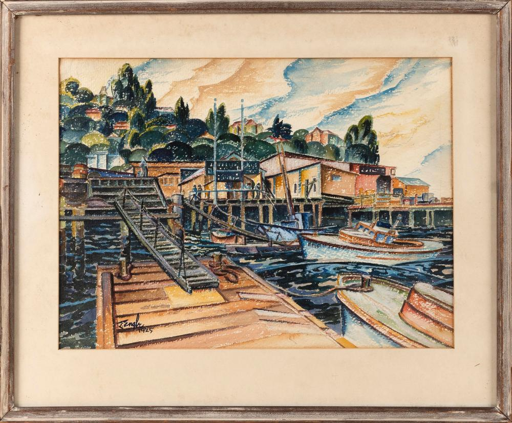 """LUCY STELLE BROWN L'ENGLE, New York/Massachusetts, 1889-1978, Harbor view., Watercolor on paper, 13"""" x 17.5"""" sight. Framed 19"""" x 23.5"""""""